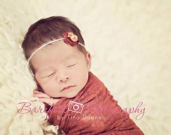 SALE Lace Newborn Wrap, Rust Baby Wrap, Baby Girl Wrap Prop, Stretch Fabric Wraps, Newborns Girls, Newborn Photo Props
