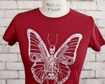 Butterfly Skeleton Tshirt, Ladies Cotton Crewneck T Shirt, Scarlet Red, Burgundy, Flying Skeleton, Short Sleeved, screenprinted Shirt