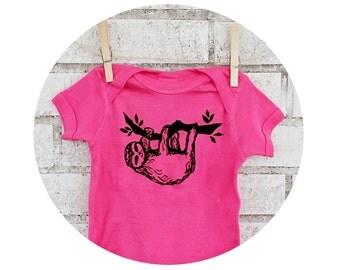 Three Toed Sloth Baby Shirt, Sleepy Sloth Hanging From a Tree, Onepiece Bodysuit, Baby Girl, Infant Clothing, Wild Animal, Hot Pink, Clothes