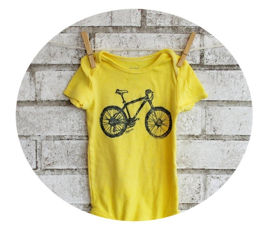 Mountain Bike Baby Bodysuit, Cotton Infant Creeper, Lemon Yellow, Onepiece, Baby Shower Gift