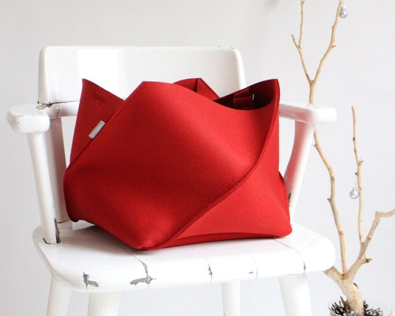 Red Folding Bag / Large Industrial Felt Bag / Tote Bag / Travel Bag / Storage Basket