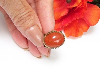 Red Jasper Antique Ring, Filigree Brass Ring, Adjustable Stone Ring, Brick Color Ring, Natural Stone Ring, Gift for Her