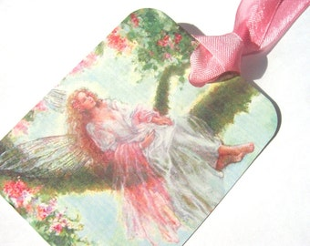 Woodland Fairy Tags - Set Of 4 - Gift Tags - Fantasy Tags - Fairy In Pink - Green Tree Tags - Spring Fairy - Thank Yous - Tree Fairy