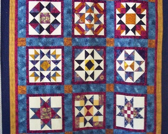Twin Size Quilt, Handmade Quilt Ohio Star Sampler Blue