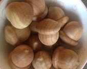 Set of 12 Natural Wood Acorns
