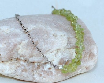 Peridot Faceted Nuggets and Silver Plated Chain with Silk Cord and Clasp