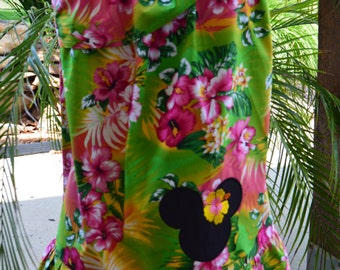 Minnie Mouse Green Luau One Shoulder Dress (extra for personalization)