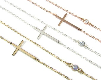 Kelly Ripa Sideways Cross Necklace with Bezel Set Simulated Diamond