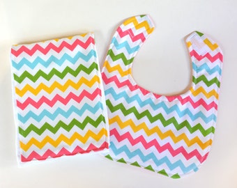 Baby Girl Bib Burp Cloth Gift Set Baby Shower Gift Infant Bib Chevon BurpCloth Cloth Diaper New Baby
