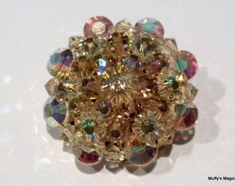 Vintage Yellow Margarita Crystal Bead Brooch Aurora Borealis