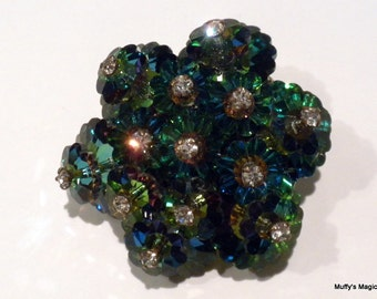 Vintage Green Margarita Crystal Brooch Blue Aurora Borealis