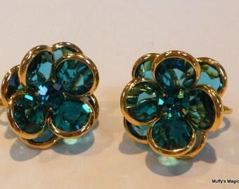 Purple Swarovski Bezel Crystals Earrings Flower Design