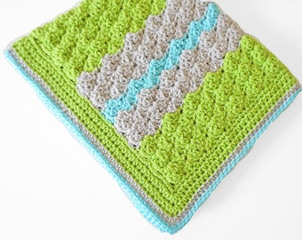Crochet baby blanket in Apple Green, Linen and Aqua colors