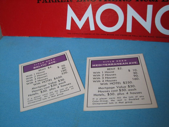 Baltic Ave. - Mediterranean Ave. - MONOPOLY - Property Card - Deed - Vintage Edition - 1974 - Parker Brothers - Crafting - Replacements