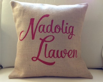 Welsh Nadolig Llawen Merry Christmas burlap pillow hessian cushion cover