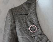 Vintage Ciner Designer Signed Ruby and Diamond Rhinestone Silver Circle Brooch