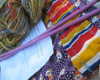 CLEARANCE Knitting Kit #1 - Handspun yarn, project bag, vintage needles, basic scarf pattern