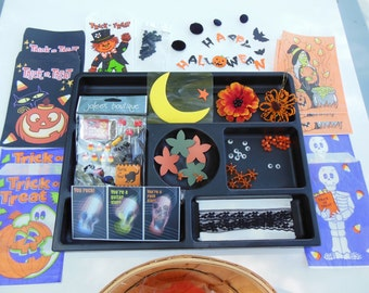 "Halloween Inspiration Craft Kit in Vintage ""Bushel"" Basket for Scrapbooking Altered Art Mixed Media Cardmaking DIY"