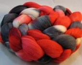 Rambouillet roving hand dyed, 4oz Red, white, black, gray R12-17