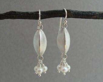 White Pearl and Sterling Silver Earrings, Dangle Earrings, June Birthstone