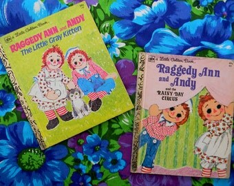 Vintage Set of Two Raggedy Ann and Andy Little Golden Books