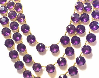 Valentines Lovers SALE Stunning Art Deco Purple Amethyst Open Back Crystal Festoon Bib Vintage Art Deco Necklace