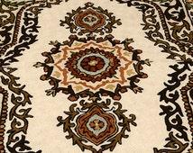 Handmade Wool embroidery beautiful small rug, brown, cream, orange - ONE SAMPLE