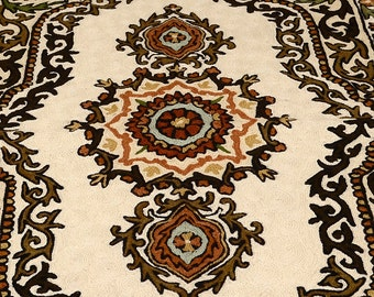Handmade Wool embroidery beautiful small rug, brown, cream, orange - ONE of a kind
