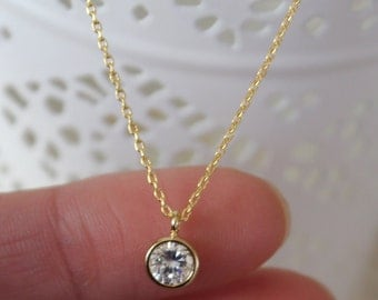 Gold  CZ Necklace. Layering Necklace. wedding party. bridesmaid gift. gift bridal party. gift idea. christmas gift.