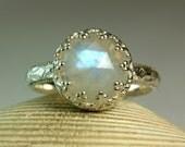 Sterling Rainbow Moonstone Ring, June Birthstone, Fancy Bezel Setting, Rose Cut Moonstone
