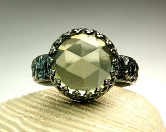 Sterling Whiskey Quartz Ring, Black Silver, Gothic Jewelry, Chunky Stone, Faceted Gemstone Ring