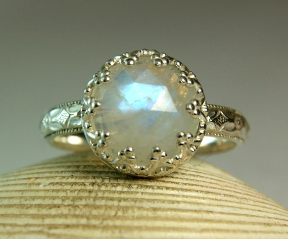 Sterling Rainbow Moonstone Ring, June Birthstone, Fancy Bezel Setting, Rose Cut Moonstone