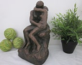 Vintage THE KISS Sculpture Statue by Rodin. Marwal. Nude Man Woman. Rustic, distressed plaster chalkware with Bronze Verdigris finish.