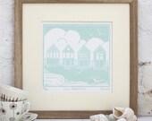 Hand Printed Four Beach Huts Linocut Print