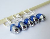 Removable Stitch Markers Glass Beads for Crochet and Knitting Blue Silver