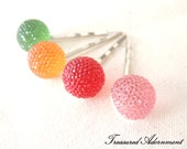 Pave Style Acrylic Rhinestone Ball Bobby Pins, Rainbow Hair pins, Children Hair Accessory, Party Favor, Red, Pink, Orange, Green set of 4