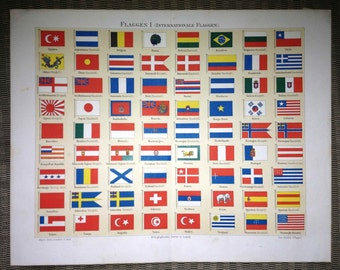 1889 international country flags original antique print no. C