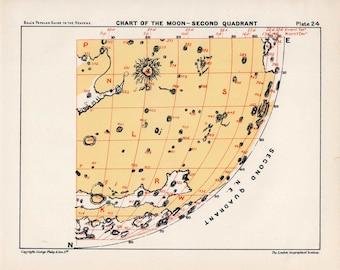 1955 MOON QUADRANT 2 - original vintage print - astronomy celestial lunar landscape chart - crater & maria - second quadrant