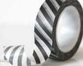 Modern Diagonal BLACK Stripe Washi Tape Chugoku