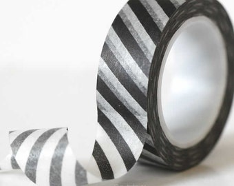 Modern Diagonal BLACK Stripe Washi Tape paper masking tape