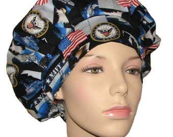 Bouffant Scrub Hats-US Navy Fabric-ScrubHeads-Scrub Hats For Women-Scrub Caps-Surgical Hat-Military Scrub Hat-US Navy Scrub Hat