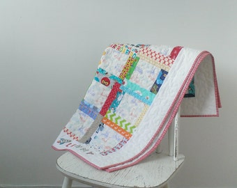 Personalised baby boy pram quilted patchwork christening gift quilt or blanket
