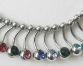1 single Rhinestone Belly  Ring / Barbell - U pick a color