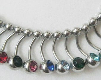 1 single Rhinestone Belly  Ring / Barbell - U pick a color
