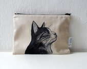 Cat Portrait  Zipper Pouch, cosmetic bag, pencil case, christmas gift for cat lovers