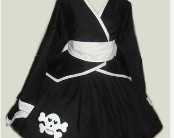 Gothic Lolita Kimono Jacket Skirt with Skull Applique and Obi Sash with Bow Black White Custom Size including Plus Size Unique Couture