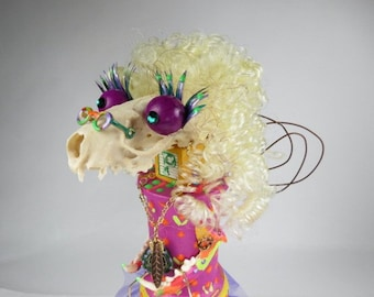 "Creature Doll, ""Frannie Flowerchild"", 1960's, Bonehead, Assemblage Art Doll, Mink Skull Art Doll"