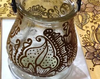 Votive Holder, Glass with Floral Design - Intricate Henna Design - OOAK