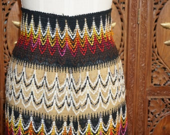 1970s Zig Zag Print Knit Sweater Maxi Skirt Sz XS