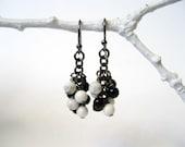 Black and White Earrings - Black Jasper White Howlite Dangle Earrings with Oxidized Silver / Monochromatic Basic Clusters